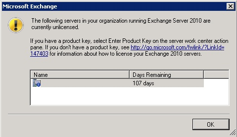 Exchnage 2010 unlicensed server alert