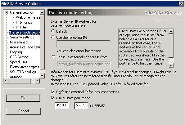 Passive settings for FileZilla server