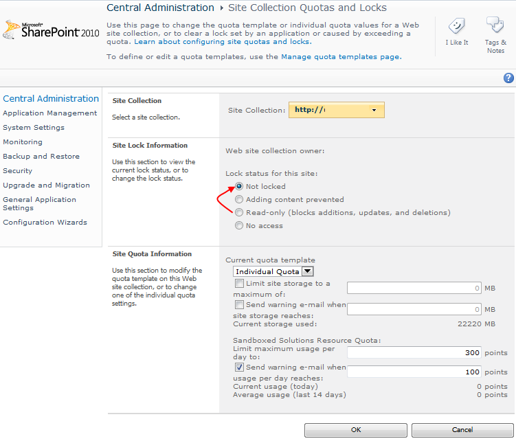 SharePoint 2010 Central Administration Site Collection Quotas and Locks Read-only