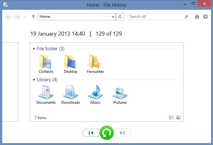 Windows8 File History Restore Dialogue