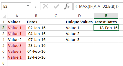 Excel Max List Array Function