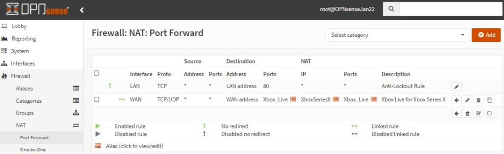 Port forward rule once added and enabled